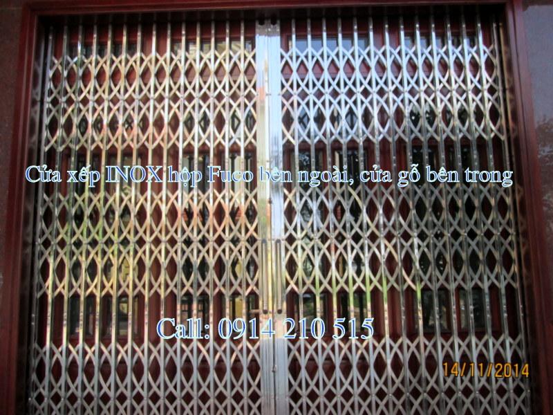 cửa xếp inox 304, không lá, nan chéo đặc, chất lượng cao tại Fuco